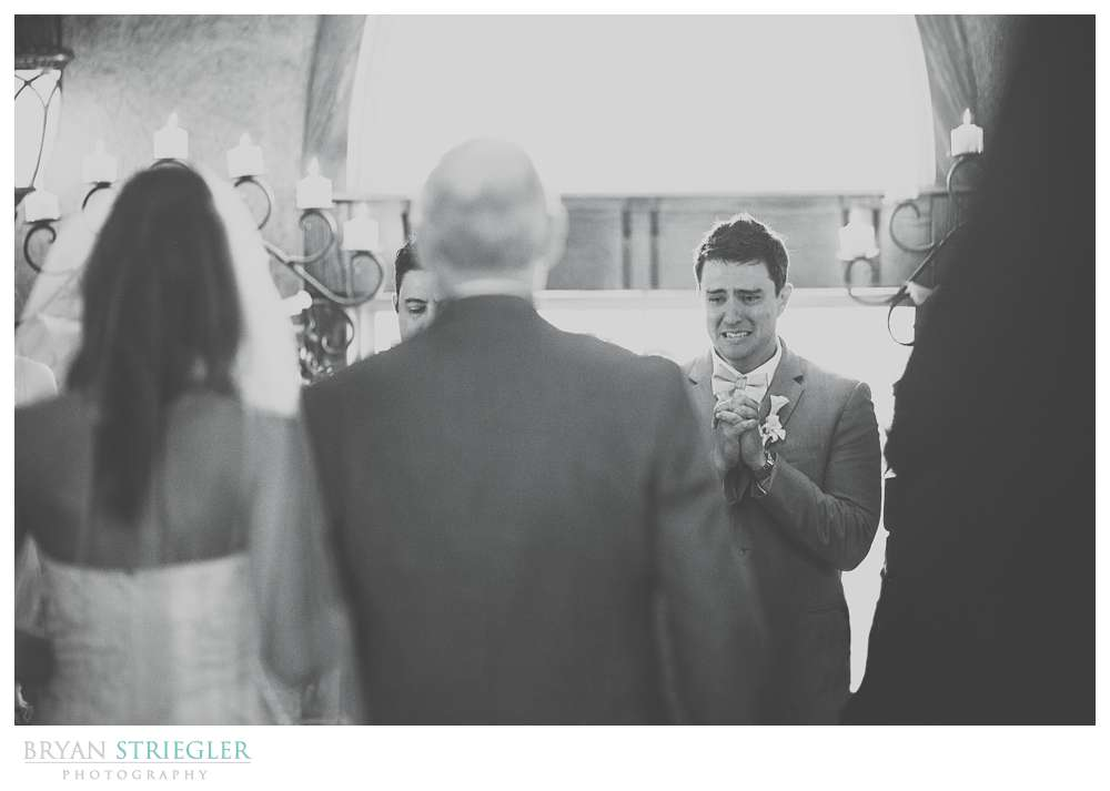 emotional wedding photo at St. Anthony's at Bell Gable
