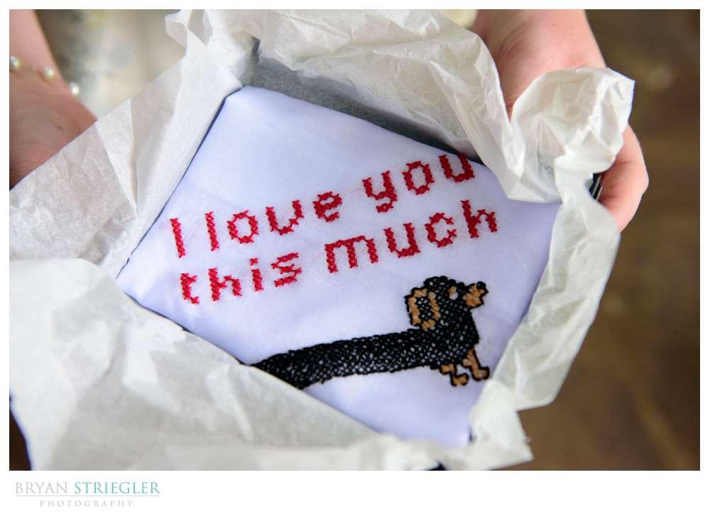 groom gift hand sown handkerchief
