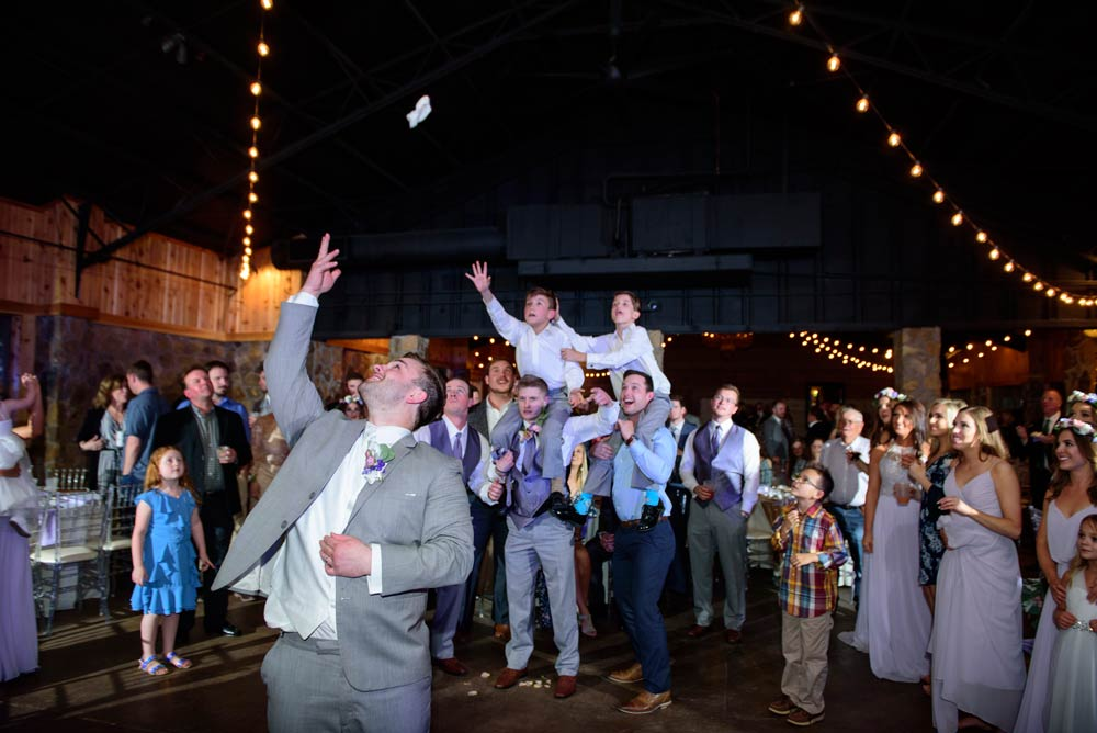 garter toss over kids' heads